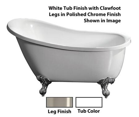 """Barclay ATSN55IWH Dorchester 55"""" Acrylic Roll Top Slipper Tub, with White Tub Finish, No Overflow, Imperial Clawfoot Design, No Faucet Holes, with Clawfoot Finish in"""