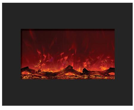 "Amantii ZECL-26 26"" Zero Clearance Electric Fireplace Unit with 29"" x 23"" Black Glass Surround"