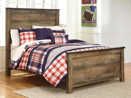 Milo Italia Becker BR-549PANEL Panel Bed with Metal Bracket Accents, Plank Detailing and Replicated Oak Grain in Brown