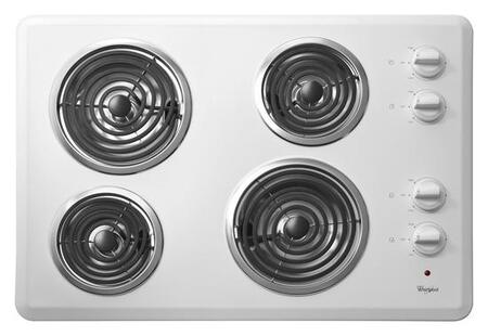 "Whirlpool WCC31430A 30"" Coil Electric Cooktop With 4 Coil Heating Elements, High Speed Coil Elements, Push To Turn Infinite Heat Controls, Hot Surface Indicator Light, Dishwasher Safe Knobs, In"