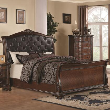 Coaster Maddison 202261SB Sleigh Bed with Leatherette Upholstered Button Tufted Headboard, Ornate Carved Detailing and European Traditional Style in Cappuccino Finish