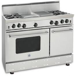 BlueStar RNB484GCBSSNG  Gas Freestanding Range with Open Burner Cooktop, 4.5 cu. ft. Primary Oven Capacity, in Stainless Steel