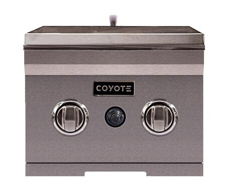 """Coyote CDSB 14"""" Double Side Burner with Premium Stainless Steel Construction, Two 15,000 BTU Brass Burners, and Stainless Steel Lid Included in Stainless Steel"""