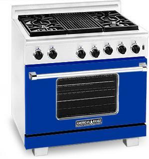 American Range ARR364GRBU Heritage Classic Series Natural Gas Freestanding Range with Sealed Burner Cooktop, 5.6 cu. ft. Primary Oven Capacity, in Blue