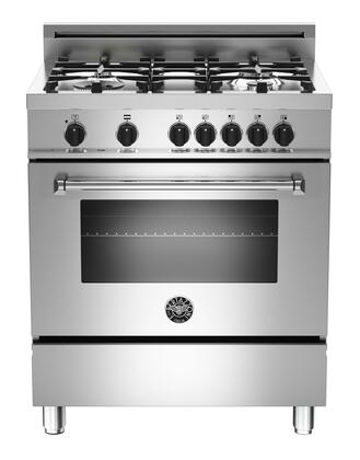 "Bertazzoni MAS304DFMXE 30"" Master Series Dual Fuel Freestanding Range with Sealed Burner Cooktop, 3.6 cu. ft. Primary Oven Capacity, in Stainless Steel"