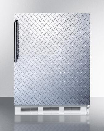 """AccuCold ALB751XDPL 24"""" ADA Compliant Compact Refrigerator with 5.5 cu. ft. Capacity, 3 Adjustable Wire Shelves, Adjustable Thermostat, Hidden Evaporator, and Automatic Defrost: Diamond Plate"""