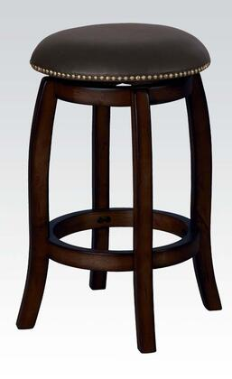 Acme Furniture Chelsea 0724 Swivel Bar Stool with Faux Leather Upholstery, Curved Accents and Nail Head Trimming in Finish