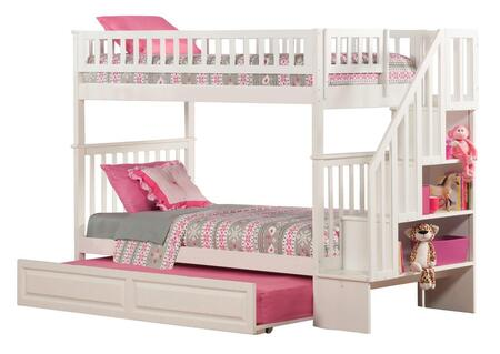Atlantic Furniture AB5663 Woodland Staircase Bunk Bed Twin Over Twin With Raised Panel Trundle