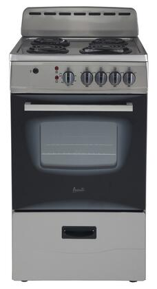 "Avanti ER20P 20"" Electric Range, [Stainless Steel] Exterior Finish with Glass Oven Door, Backsplash and Storage Drawer"
