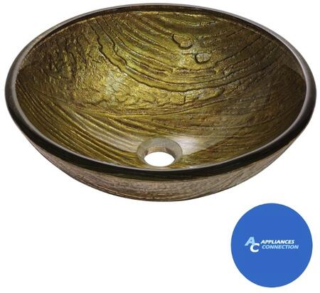 """Kraus CGV39619MM1007 Nature Series 17"""" Dryad Round Vessel Sink with 19-mm Tempered Glass Construction, Easy-to-Clean Polished Surface, and Included Ramus Faucet"""