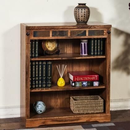 "Sunny Designs Sedona Collection 2952RO- XX"" Bookcase with X Adjustable Shelves and Natural Slate Accents in Rustic Oak Finish"