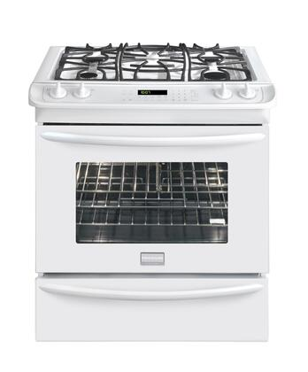 Frigidaire FGDS3065KW Gallery Series Slide-in Dual Fuel Range with Sealed Burner Cooktop Warming 4.2 cu. ft. Primary Oven Capacity