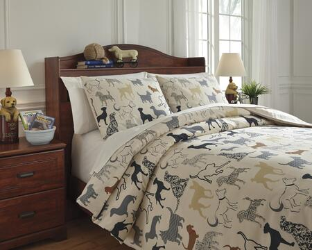 Signature Design by Ashley Howley Q73100 PC Size Duvet Cover Set includes 1 Duvet Cover and Standard Sham with Animal Print Design and Cotton Material in Multi Color
