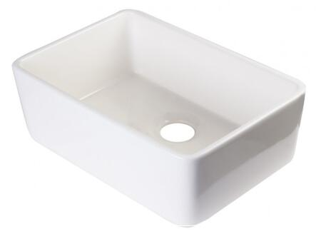 "Alfi 24"" Single Bowl Kitchen Sink with 3.5"" Rear Center Drain, Garbage Disposal Compatible and Solid High-Grade Fireclay Material in"