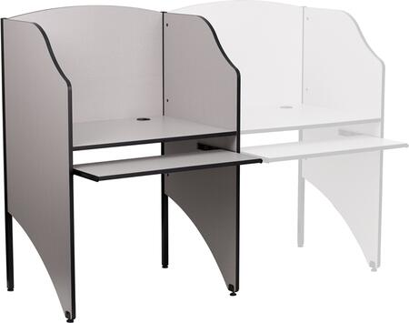 Flash Furniture MT-M6201-XX-GG Starter Study Carrel with Pull-Out Keyboard, Black Grommet for Wire Management, and Leveling Glides