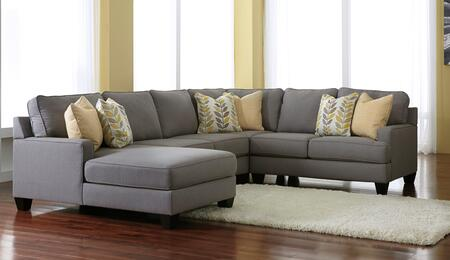 Signature Design by Ashley Chamberly 24302-1X-34-77-5X 4PC Sectional Sofa with X Arm Corner Chaise + Armless Loveseat + Wedge + X Arm Loveseat and Pillows Included in Alloy