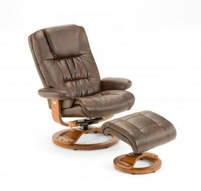 Mac Motion CASA81 Bonded Leather Swivel, Recliner with Ottoman
