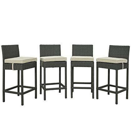Modway Sojourn Collection 4 PC Outdoor Patio Bar Stool Set with Powder Coated Aluminum Frame, Sunbrella Fabric and Synthetic Rattan Weave Material in