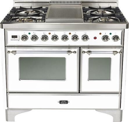 Ilve UMTD1006MPB Majestic Techno Series Dual Fuel Freestanding Range with Sealed Burner Cooktop, 2.44 cu. ft. Primary Oven Capacity, Warming in True White