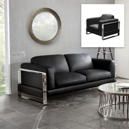 Diamond Sofa Annika ANNIKASC Sofa & Chair 2PC Set with Air Leather, Polished Stainless Steel Arm and Plush Back Pillows in