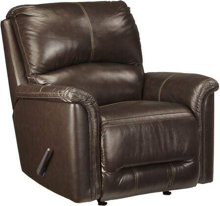 """Signature Design by Ashley 8660 Lacotter 37"""" Rocker Recliner with Jumbo Stitching, Metal Frame, Split Back Cushion and Top-Grain Leather Upholstery in Color"""