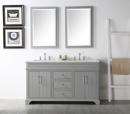 "Legion Furniture WH7760X 60"" Sink Vanity with Quartz Top, Rectangle Ceramic Sink and 6 Pre-Drilled Faucet Holes"