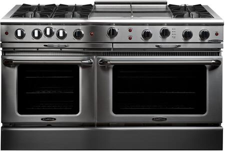 "Capital Culinarian Series CGSR604GG2-X 60"" Freestanding X Range with 8 Open Burners, Primary 4.6 Cu. Ft. Oven Cavity, Secondary 3.1 Cu. Ft. Oven Capacity, and Dual Convection Air Flow, in Stainless Steel"