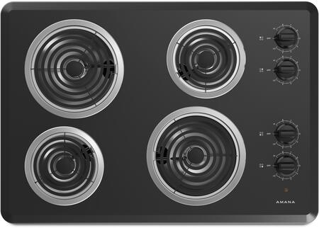 """Amana ACC6340KF 30"""" Electric Cooktop with 4 Coil Elements, Dishwasher Safe Knobs and Chrome Drip Pan, in"""