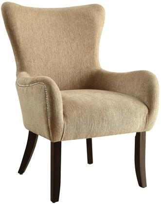 "Coaster Accent Seating Collection 28"" Accent Chair with Contemporary Curves, Espresso Tapered Legs, Nail Head Trim, Camel Back Design, Flared Arms and Chenille Upholstery in"