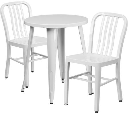 Flash Furniture CH51080TH218VRTWHGG Industrial Round Shape Patio Sets