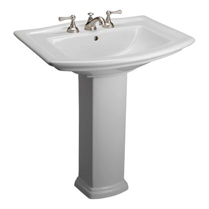 "Barclay 3-49WH Washington 765 Pedestal Lavatory, with Pre-drilled Faucet Hole, 8.5"" Basin Depth, and Vitreous China Construction, in White"