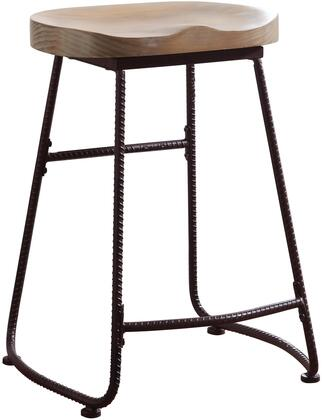 Coaster Dining Chairs and Bar Stools Collection Bar Stool with Saddle Wood Seat and Metal Frame in Driftwood and Dark Bronze Finish