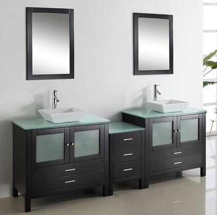 "Virtu USA Brentford 90"" MD-4490-x-ES Double Sink Bathroom Vanity in Espresso Finish with x Countertop, Mirrors, Faucets, 4 Doors, 7 Doweled Drawers and Brushed Nickel Hardware"