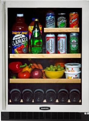 """Marvel 6GARM-R 24"""" All Refrigerator/Beverage Center with Dynamic Cooling Technology, 6 Wine Bottles/95 Cans Capacity, Glass Door & Right Hinge Door:"""