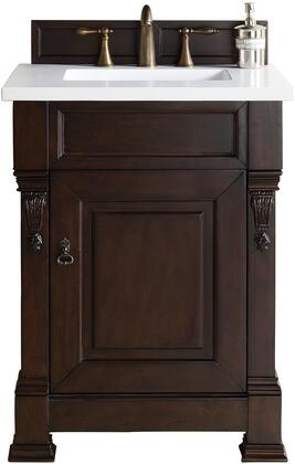 "James Martin Brookfield Collection 147-114-V26-BNM- 26"" Burnished Mahogany Single Vanity One Soft Closing Door, Backsplash, Hand Carved Filigrees and"
