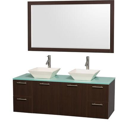 "Wyndham Collection WCR410060 Amare 60"" Wall-mounted Double Vanity with  Top,  Vessel Sinks, Two Doors, Four Drawers and Matching  in"