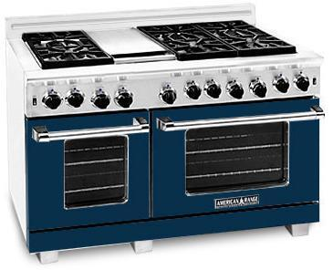 "American Range ARR486GDDB 48"" Heritage Classic Series Gas Freestanding Range with Sealed Burner Cooktop, 4.8 cu. ft. Primary Oven Capacity, in Dark Blue"