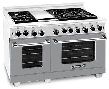 "American Range ARR4842GRMG 48"" Heritage Classic Series Gas Freestanding Range with Sealed Burner Cooktop, 4.8 cu. ft. Primary Oven Capacity, in Gun Metal"