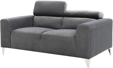 """Glory Furniture 61"""" Loveseat with Chrome Legs, Adjustable Headrest, Track Arms, Split Back Cushion and Soft Velvet Like Micro Suede Cover in"""
