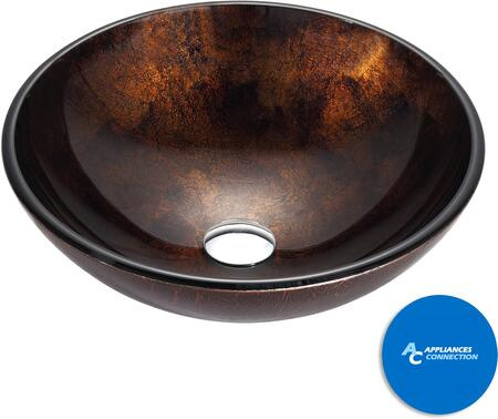 """Kraus GV684X Multicolor Series 17"""" Pluto Round Vessel Sink with 12-mm Tempered Glass Construction, Easy-to-Clean Polished Surface, and Included Pop-Up Drain with Mounting Ring"""