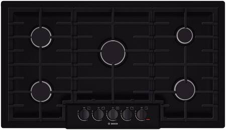 "Bosch NGM8665UC 36"" 800 Series Gas Sealed Burner Style Cooktop, in Black"