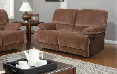 Global Furniture USA U9968ChmpBrSugarMF101L Fabric Reclining with Wood Frame Loveseat