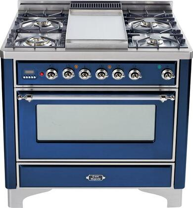 "Ilve UM906MPBLX 36"" Majestic Series Dual Fuel Freestanding Range with Sealed Burner Cooktop, 2.8 cu. ft. Primary Oven Capacity, Warming in Midnight Blue"