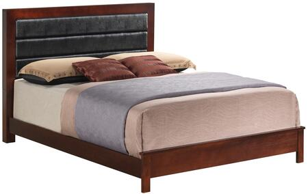 Glory Furniture Panel Bed with Black Upholstered Headboard and Wood Construction in Cherry Finish
