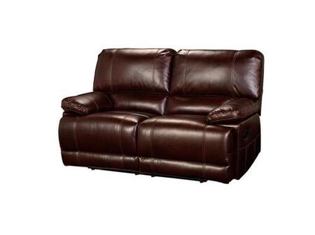 "New Classic Home Furnishings 2-303-2-NCH Wyoming 66"" Recliner Loveseat with Recline Mechanism, Hardwood Frames, Sinuous Spring ""No Sag"" Support, Pocketed Spring Cushion and Memory Foam Topper, in Chestnut"