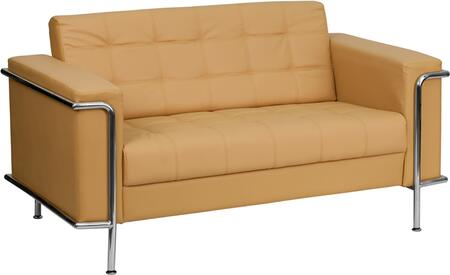 Flash Furniture ZBLESLEY8090LSBRNGG HERCULES Lesley Series Bonded Leather Stationary with Metal Frame Loveseat