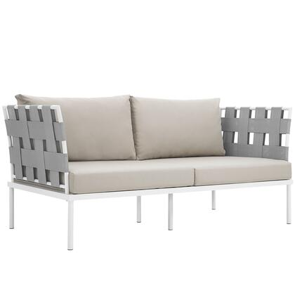 "Modway Harmony Collection EEI-2603-WHI- 65"" Outdoor Patio Loveseat with White Aluminum Frame, Dense Foam Padding and All-Weather Canvas Fabric Cushions in"