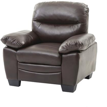 "Glory Furniture 39"" Armchair with Removable Back, Split Back Cushion, Pocket Coil Spring Seating, Tapered Legs, Plush Padded Arms and Soft Faux Leather Upholstery in"