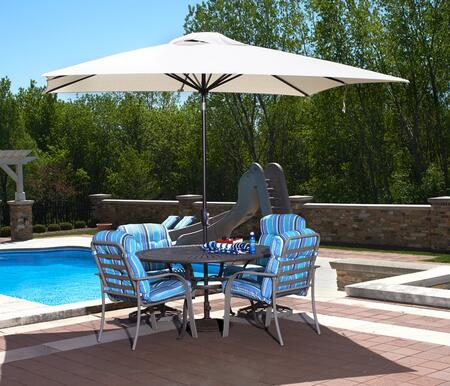 Open and set up with a table and chairs, poolside