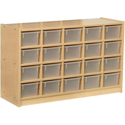 Mahar M60102 20 Opening Cubbie Unit with Trays in Maple Finish with Edge Color